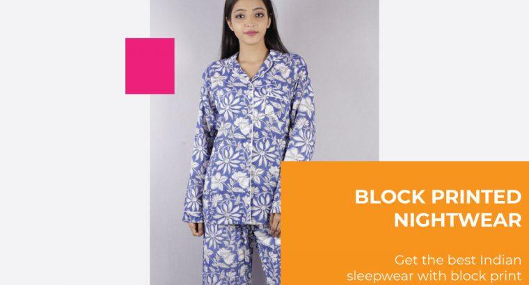 Block Printed Nightwear