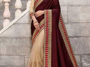 half and half saree designs