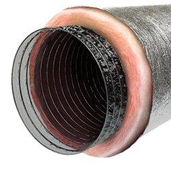 """4""""-20"""" Flexible Air Duct w/ Pink Fiberglass Insulation"""