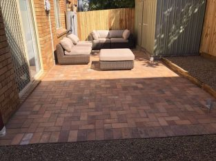 Courtyard paving and boundary fencing in East Brisbane
