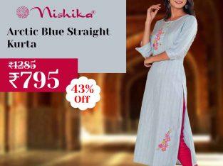 Nishika Arctic Blue Straight Kurta in India