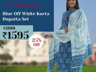 Nishika Blue Off White Kurta Dupatta Set