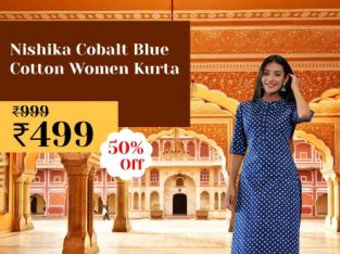 Nishika Cobalt blue Cotton Women Kurta