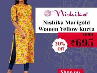 Nishika Marigold Women Yellow Kurta