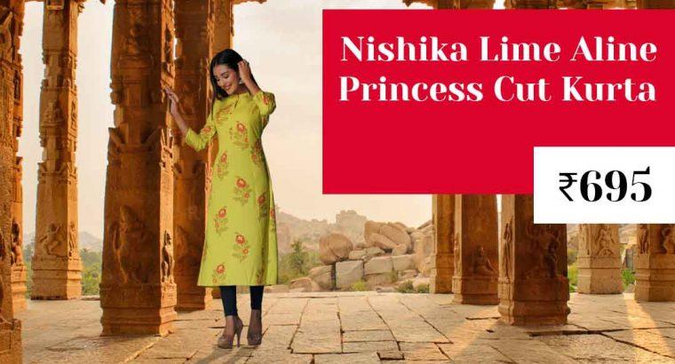 Nishika Lime Aline Princess Cut Kurta in India