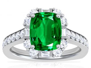 Vintage Four Prong Rectangle Cushion Emerald Halo Ring with Round and Baguette Diamonds