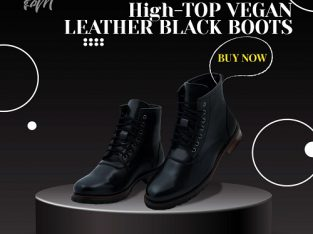 HIGH-TOP VEGAN LEATHER BLACK BOOTS | theshoemaker
